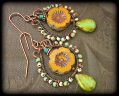 Flowers, Czech Glass, Copper, Colorful, Summer, Bouquet, Organic, Rustic, Hoop, Beaded Earrings by YuccaBloom on Etsy