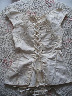 Original regency corset or stays c1820s with embroidery & owner's name from oldenglishroses on Ruby Lane