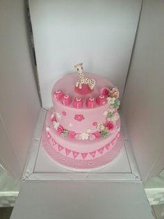 Giraffe and flowers christening cake