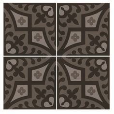 Original Style tiles - Romanesque Light Grey and Dark Grey on Black decorative wall and floor tile 151 x 151 x 9 mm - 8012V Odyssey