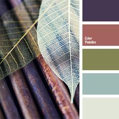 Eine Verbindung aus blassen Auberginetönen, Rot-Braun, Olivgrün mit Hellblau und hellem Grau. Diese Farbgebung eignet sich für die Gestaltung vonArbeitszi.