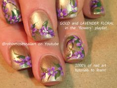 Nail-art by Robin Moses purple and gold  http://www.youtube.com/watch?v=bpa3nDUyyRQ=share