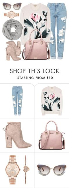 """Pink Addition"" by monmondefou ❤ liked on Polyvore featuring Topshop, Burberry, Kendall + Kylie, Michael Kors, Miu Miu, John Lewis and Pink"