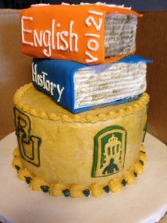 "Wow! What a cake. // ""Alexis' Baylor graduation cake. English major, History minor. 2014"""