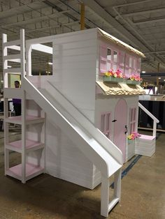 The Layla Bed Offered as a Loft Bed Bunk Bed or Triple Bunk Trundle Bed With Storage, Built In Storage, Bed Storage, Bunk Beds With Stairs, Kids Bunk Beds, Benjamin Moore, Bed With Led Lights, Stair Plan, Farmhouse Style Furniture