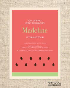 Watermelon Picnic Birthday Invitation Design by FLIPAWOO - Customized Printable File on Etsy, $18.00
