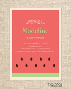 Watermelon Picnic Birthday Invitation Design by FLIPAWOO - Customized Printable File on Etsy, $18.00