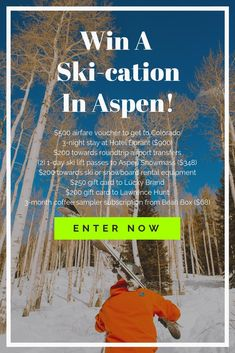 Enter to Win! Skiing in Aspen would be a fantastic prize! Hallmark Channel, Places To Travel, Travel Destinations, Places To Visit, Ski Vacation, One Day I Will, Look Here, Cartography, Travel Guides