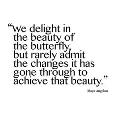 We delight in the beauty of the butterfly, but rarely admit the changes it has gone through to achieve that beauty. - Maya Angelou