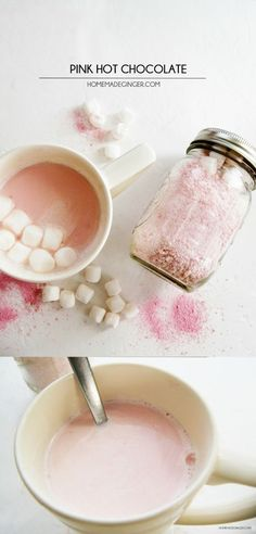 This pink hot chocolate mix has a slightly strawberry flavor that is so delicious - and it couldn't be easier to make! Great for gifts in mason jars and for Valentine's Day. Prepare on the stove / in the crockpot and add marshmallows or whipped cream!