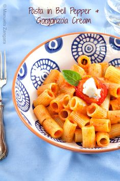 #Pasta with Bell Pepper and #Gorgonzola Cream - an easy and delicious #vegetarian dinner idea!