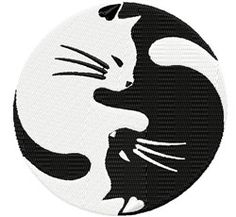 Yin Yang Cats machine embroidery design from embroiderydesigns.com