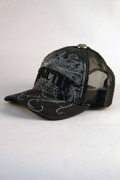 615aa996 Affliction® Atlantis Truckers Hat in Black for Men and Women. Glittering  swirls on the