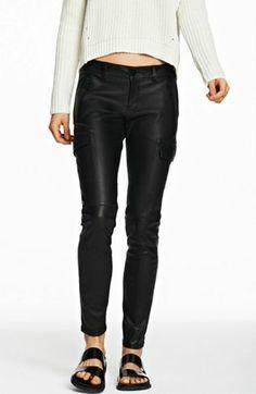 Leather Utility Skinny Pant - Pants - Womens - Armani Exchange
