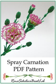 PDF PATTERN - French Beaded Spray Carnations, French Beaded flowers, beaded flower tutorial, beaded flower project - A PDF Pattern of my original design – French Beaded Carnations. The tutorial will teach you to cr - Beaded Flowers Patterns, Bead Loom Patterns, Crochet Flowers, Beading Patterns, French Beaded Flowers, Victorian Flowers, Seed Bead Flowers, Rose Tutorial, Beads Tutorial