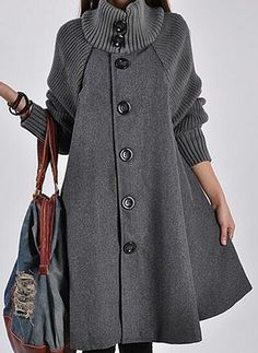 Cotton & Cotton Blend Long Sleeve Other Buttons Coats