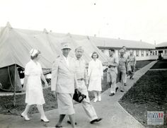 Eleanor Roosevelt visiting a US military base in the Fiji Islands in August 1943. Gift of Irene Moran, from The Digital Collections of the National WWII Museum, 2008.372.012.