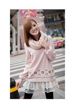 Pink Lace Hem Top, iAnyWear