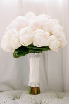 Glamorous White Peony Wedding Bouquet // Bouquet by La Fleur by Tracy, Photography by Erin Hearts Court Peony Bouquet Wedding, White Wedding Bouquets, Peonies Bouquet, Bride Bouquets, Floral Wedding, Wedding Flowers, Wedding Dresses, Our Wedding, Dream Wedding