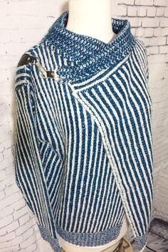 Women's Baciano Turquoise White Striped Cardigan Sweater Snap Buckle Closure #Baciano #Cardigan #EveryDay