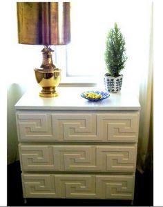 Ikea dresser, dressed up with glued on overlays