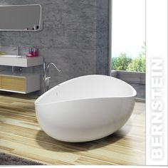Freestanding Bathtub Mineral cast WAVE Stone white - 180x110cm - Solid Stone