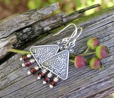 garnet pewter fine and sterling silver by PinkPoppyStudio on Etsy, $26.00