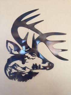 Deer Head Scene Abstract Metal Wall Art Decor