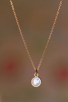Moonstone necklace - the love stone - a tiny 22k gold lined moonstone on a 14k gold filled chain