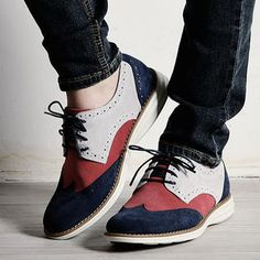 Rememberclick Color-Block Wing-Tip Oxfords