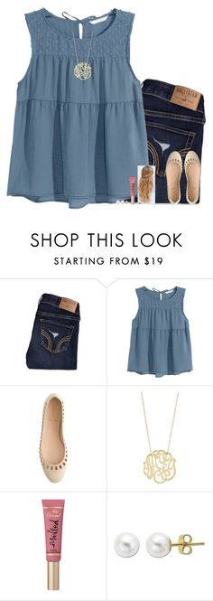 """""""Breathe // Evelyn"""" by sixpreppychicks ❤ liked on Polyvore featuring Hollister Co., H&M, J.Crew, Too Faced Cosmetics, Lord & Taylor, women's clothing, women, female, woman and misses"""