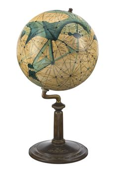A manuscript globe, hand painted and lettered, representing in 3-dimensional form the maps of Mars published in the American astronomer Percival Lowell's books,Mars and its Canals (1906)