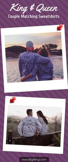 His Queen Matching Sweatshirts for Couples The King His Queen Matching Sweat Shirts are Couple Travel Goals! For honeymoon, weekend vacation, anniversary, birthday gift! Cute hoodies for boyfriend girlfriend. Matching Hoodies For Couples, Matching Couple Outfits, Relationship Goals Pictures, Couple Relationship, Relationships, Cute Couple Quotes, Weekend Vacations, Cruise Outfits, Couple Shirts
