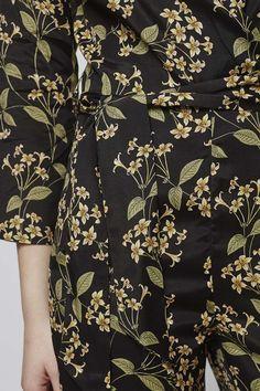 Photo 5 of Honeysuckle Printed Wrap Jumpsuit Textile Prints, Textiles, Textile Design, Floral Prints, Wrap Jumpsuit, Printed Jumpsuit, Cool Patterns, Print Patterns, Floral Patterns