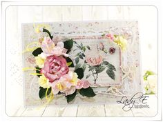 Card with roses :) Flowers from Wild Orchid Crafts #handmade #cardmaking