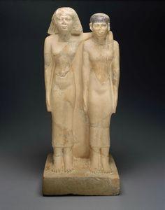 Limestone pair statue of Queens Hetepheres II and Meresankh III. Old Kingdom. 4th dynasty. Reign of Menkaura. 2490–2472 B.C. | Museum of Fine Arts, Boston