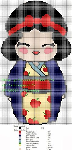 grilles point de croix et cie: Trois Grilles point de croix Kokeshi