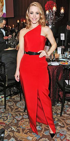 RACHEL MCADAMS What does one wear to celebrate one's induction onto the Canadian Walk of Fame? Rachel answers that question with a body-skimming one-shoulder red Romona Keveza gown and a smoky eye.