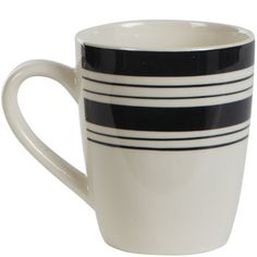Round black striped stoneware mugs add a modern style and electric flair to your dining table! The perfect accent for dinner parties, receptions, and events, their sturdy design will also stand up to