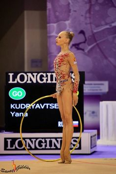 Yana Kudryavtseva, Russia, got 19.000! for her hoop routine in all-around finals World Championships Izmir 2014. It is the 1st place!