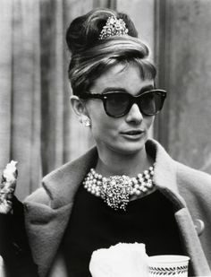 Breakfast at Tiffany's - one of my favorite movies, and Audrey Hepburn a favorite and classic...Note the jewelry - glamorous.