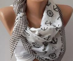 Marine Shawl  Brown and White Shawl  Cotton Scarf  by womann