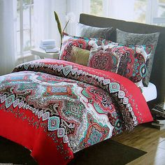 MAX STUDIO MOROCCAN FLORAL MEDALLION FULL QUEEN DUVET 3PC SET Red Teal Black New