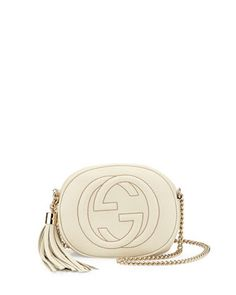 Soho Round Leather Crossbody Bag, White by Gucci at Neiman Marcus.