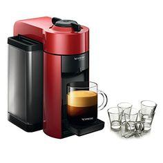 Nespresso VertuoLine Evoluo Cherry Red Coffee and Espresso Maker with Free Set of 6 Espresso Glasses