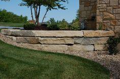 "9"" limestone retaining wall #TopekaLandscape"