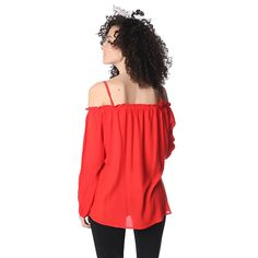 Red off shoulder top with long sleeves