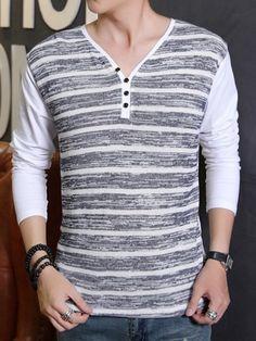 Patchwork Striped Decorative Buttons V Neck T-shirts #ClothingOnline #PlusSizeWomensClothing #CheapClothing #FashionClothing #womenswear #sexydress #womensdress #womenfashioncasual #womensfashionforwork  #fashion #womensfashionwinter
