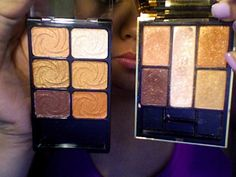 """YSL palette [right] and the Wet N' Wild Limited Edition """"Golden Goddess"""" [left] are perfect dupes of each other Skincare Dupes, Drugstore Makeup Dupes, Beauty Dupes, Beauty Makeup Tips, Makeup Swatches, All Things Beauty, Beauty Make Up, Kiss Makeup, Eye Makeup"""