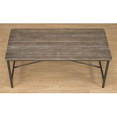 Add this rustic grey coffee table to your living room, and make room for entertaining and relaxing. Constructed with a reclaimed wood surface table top and supported by a metal cross-style frame, this Sofa End Tables, Coffee Table, Table, Rustic Wood Walls, Wood Furniture Living Room, Old Wood, Wood, Coffee Table Design, Wood Design